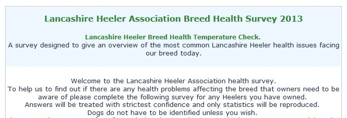 Lancashire Heeler Association Breed Health Survey