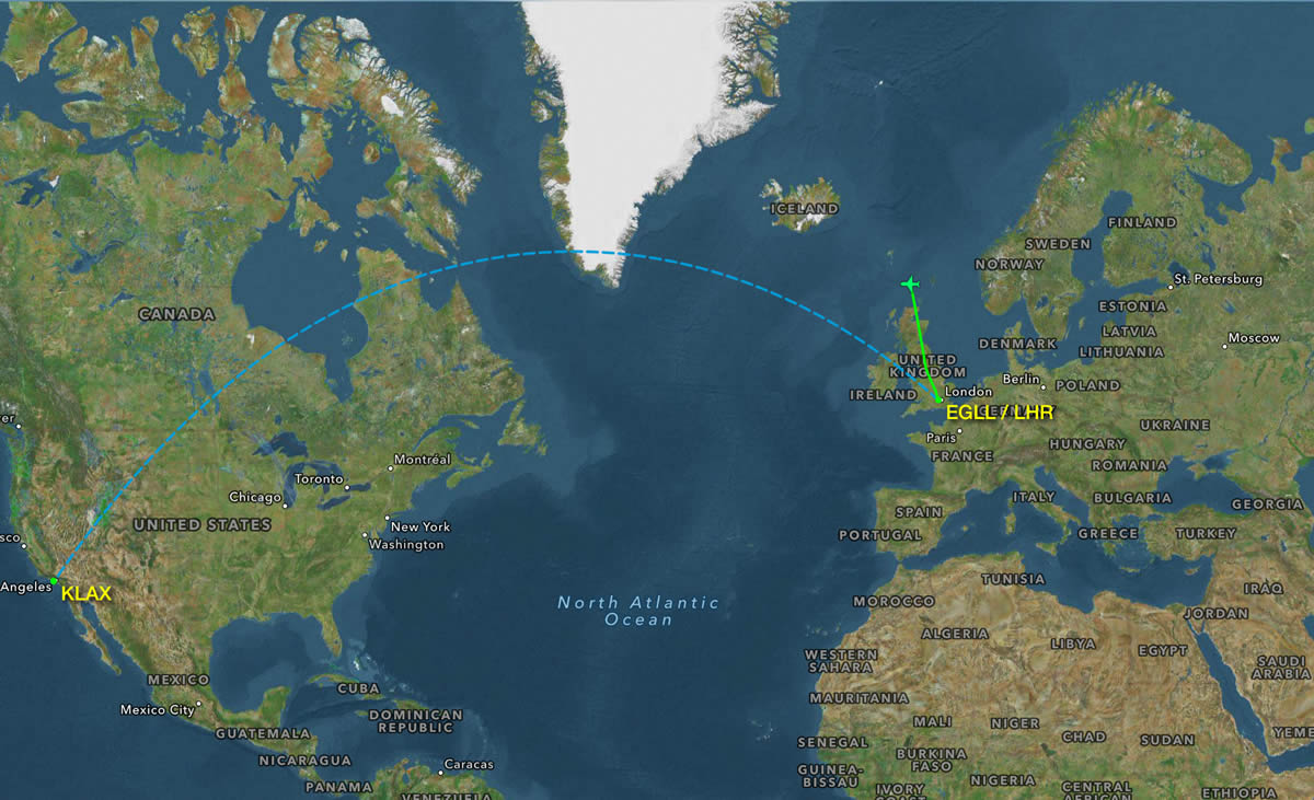 First Stage of the journey.  Heathrow to Los Angeles